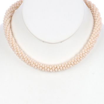 Beige Iridescent Micro Bead Crocheted Rope Necklace