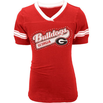 Georgia Bulldogs - Rhinestone Swoop Logo Girls Juvy T-Shirt