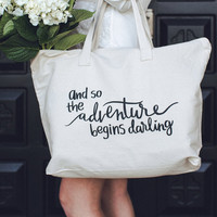 The Adventure Begins Cotton Canvas XL Tote Bag