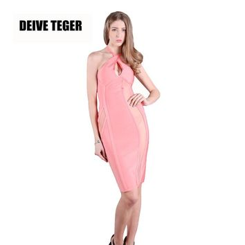 SALMON BANDAGE AND MESH BUSTIER DRESS Halter Sexy Bandage Women Knee-Length Dress
