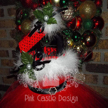 So Cute Hot Pink-Red Christmas Santa Tutu Dress-Satin belt-Bling buckle-Maribou-Pageants- Holiday-Unique-Trendy-Adorable-Costume-Snow