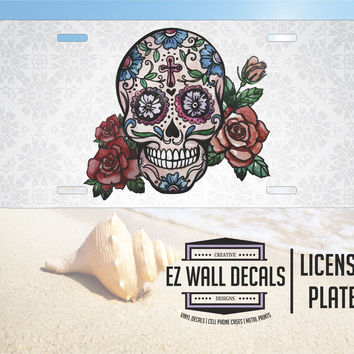 Watercolor Sugar Skull Aluminum License Plate