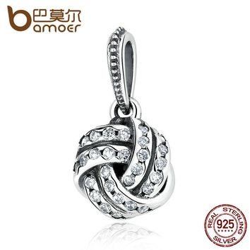 925 Sterling Silver Sparkling Love Knot Weave Bead Charms Fit Bracelets & Bangles Fine Jewelry PAS333