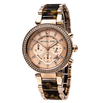 Michael Kors MK5538 Women's Parker Steel & Tortoise Acetate Bracelet Chronograph Watch