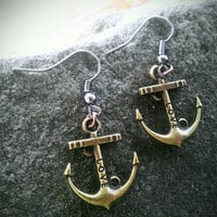 Earrings- anchor with love dangles
