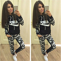 """NIKE"" Fashion Casual Multicolor Camouflage Letter Print Long Sleeve Hooded Set Two-Piece Sportswear"