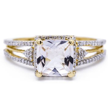 7mm Natural Cushion Cut Morganite Center 14k Yellow Gold Diamond Split Shank with Diamond Halo 1.5 Carat Total Weight