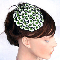 Green Unusual Cocktail Hat Headpiece Comb by mammamiaeme on Etsy