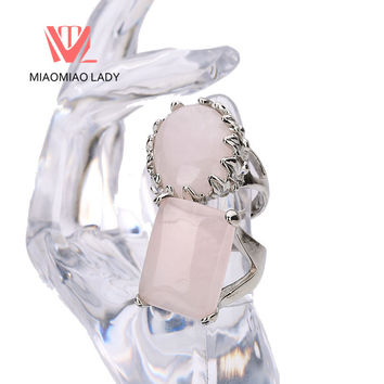 Cute Female Bohemian Big Rose Quartz Stone Party Rings Turkish Jewelry Free Shipping Women Wedding Rings Men Unique Couple Rings