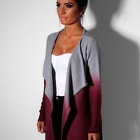 Radley Red & Grey Ombre Waterfall Knit Cardigan   Pink Boutique