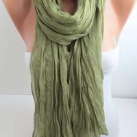 NEW Green Crinkle Cotton Scarf Solid Color Scarf Pastel Green Crinckle Scarf Fashion Women Accessories
