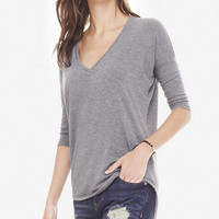 GRAY ONE ELEVEN V-NECK TUNIC TEE from EXPRESS