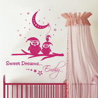 Owl Wall Decal Name Vinyl Sticker Personalized Custom Name Moon and Stars Decals Sweet Dreams Baby Name Girls Nursery Boys Room Decor AN679