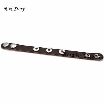 Fit Snap Mini Button Coffee Real Leather Bracelet For Children 20cm Long (suitable button fastener size: about 4.5mm) SB_425