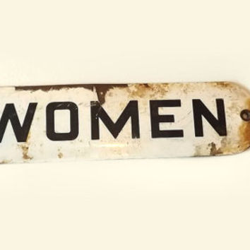 "Vintage Rusty White Enamel ""Women"" Sign, Ladies Room Metal Door Sign, Industrial Home Decor Wall Hanging"