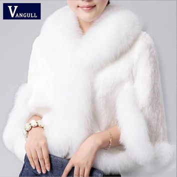 2017 New Fur Faux Coat Mink Hair Rex Rabbit Hair Cape Jacket Black White Fur Overcoat Imitation Rabbit Fur Faux Fox Collar XXXL