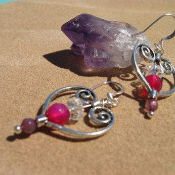 Amethyst and Crystal Wire- wrapped heart earrings