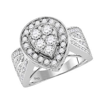 14kt White Gold Women's Round Diamond Teardrop Cluster Bridal Wedding Engagement Ring 1-3/8 Cttw - FREE Shipping (US/CAN)