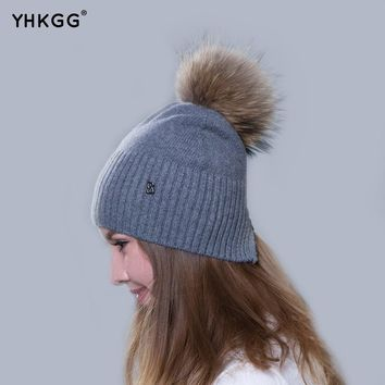 2017 newest fashion elegant plain band hair ball letters Ms. cashmere hat  beanies gorros