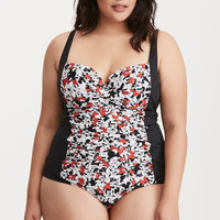 Mickey Print Ruched Tankini Top