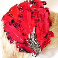 red and black curled feather and silver retro curl fascinator hair clip
