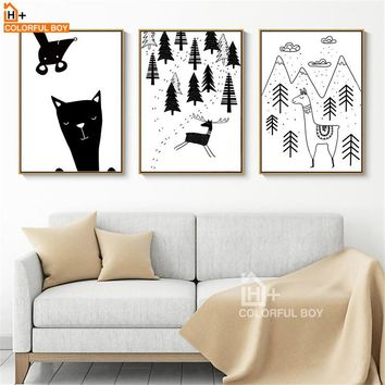 Alpaca Tree Canvas Painting Wall Art Print Nordic Poster Black White Animals Wall pictures Kids Room Decor