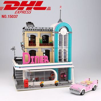 Creator series The Downtown Diner Model Building Blocks set Compatible with lego 10260 Classic architecture Toy for children