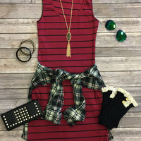 Ribbed Striped Tank Dress: Burgundy