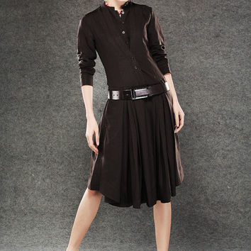 Shirt dresses for women in brown C073