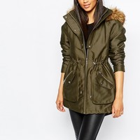 Michelle Keegan Loves Lipsy Satin Parka With Faux Fur Trim