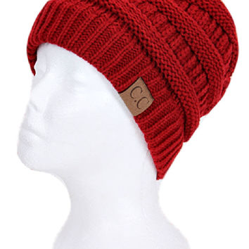 Thick Slouchy Knit Beanie, Red