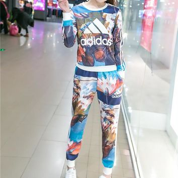 Adidas Fashion Casual Multicolor Petal Letter Print Long Sleeve Sweater Set Two-Piece Sportswear
