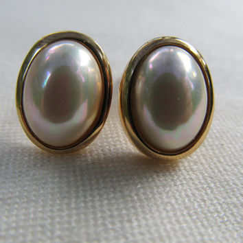 CHRISTIAN DIOR Oval Faux Pearl Earrings