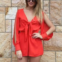 Orange Slit Long Sleeve Playsuit with Golden Triangle Detail