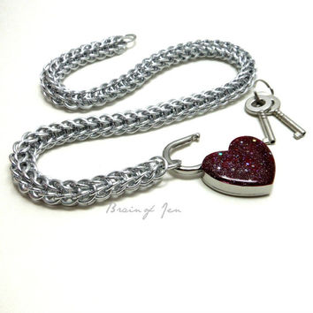 Locking Slave Collar Silver Aluminum with Sparkly Burgundy Heart Shaped Padlock