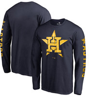 Men's Houston Astros Fanatics Branded Navy 2018 Gold Program 24-Karat Logo Long Sleeve T-Shirt