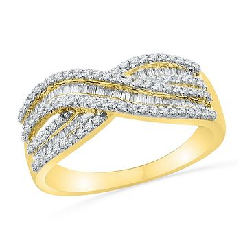 10kt Yellow Gold Womens Round Baguette Diamond Crossover Band Ring 1/2 Cttw