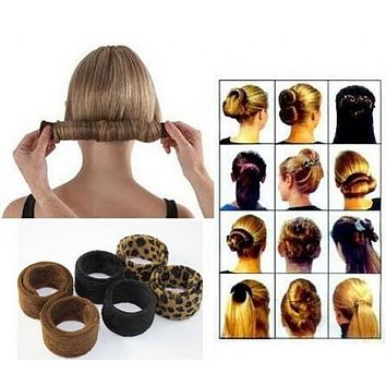 1PCS Hair Bun Donut Black Leopard Tail Hairagami Hairbands Jewelry Accessories Women Styling Tools