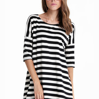 Black and White Striped Batwing Long Sleeve T-shirt - Sheinside.com