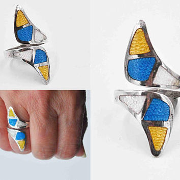 Vintage Taxco Sterling Silver Enamel Bypass Ring, Jeronimo Fuentes, Mexico, Multicolor, Long, Size 7 1/2, Signed, Eagle, Fab! #c313