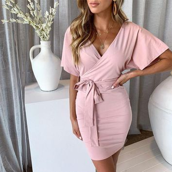 2019 Summer New Fashion V Neck Binding Bow Wrap Bodycon Dress Tie Waist Sexy Slim Mini Sundress Elegant Party Vestidos платье