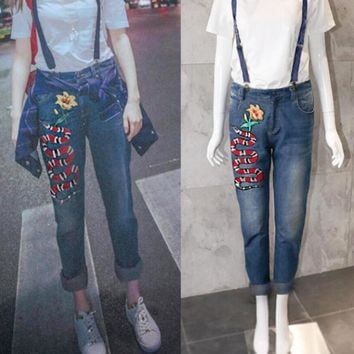 Gucci Fashion Women Casual Snake Embroidered Print Skinny Jeans Nine-Point Suspenders