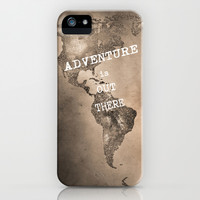 Adventure is out there. Stars world map. Sepia iPhone & iPod Case by Guido Montañés