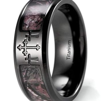 CERTIFIED 8mm Men's IP Black Titanium 3 Crosses Real Forest Camo Ring
