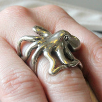 Octopus Ring in Solid White Bronze