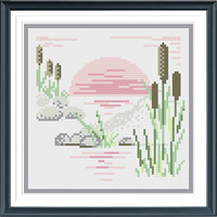 Sunset Modern Cross Stitch Pattern,  Counted Cross Stitch Chart, Digital PDF Format, Instant Download