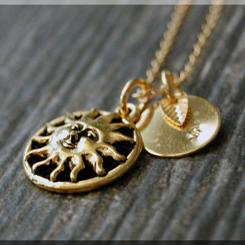Gold Sun Charm Necklace, Initial Charm Necklace, Personalized Necklace, Celestial Charm, Sun charm, Sun Pendant, Celestial Jewelry