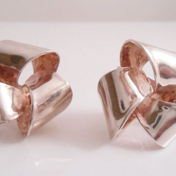Christian Dior Earrings Sterling Ribbon Clip Back