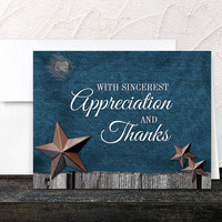 Denim Rustic Thank You Cards - Country Blue Denim Rustic Stars Wood - Printed Cards