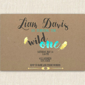 Wild One First Birthday Invitation, Tribal Birthday Invitation, printable birthday invitation, 4x6